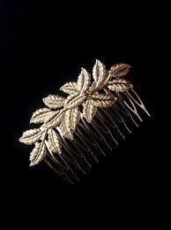 Gold Leaves Hair b Leaf Design Floral Branch Delicate Bridal