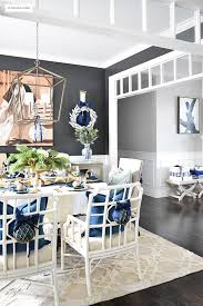Beautiful Christmas Home Tour Featuring The Dining Room And Entryway Dressed In Blue White