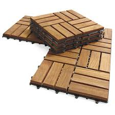 interlocking outdoor deck tiles garden solid teak wood flooring