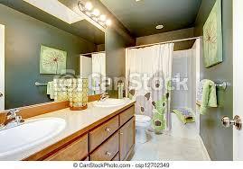 tub badezimmer kabinett dusche holz grün canstock