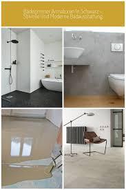 bodenbelag schwarze fliesen weiße wände badewanne regale