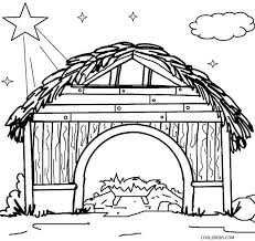 Nativity Stable Coloring Page