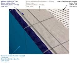 Olympic Pool Closeup Shows Interior Tiles Coping Matching Deck And