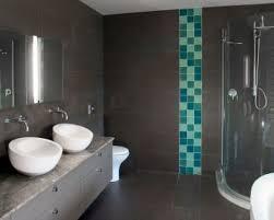 bathroom blue tile bathroom desiign with black floor and