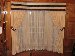 Traverse Rod Curtain Panels by Bay Window Drapes Coordinated With Sheers On A Traverse Rod