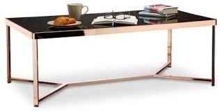 relaxdays couchtisch copper eckig hbt 42 x 119 x 60 cm kupfer und schwarzglas eleganter wohnzimmer glastisch schwarz