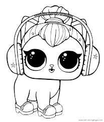 LOL Surprise Coloring Page Kitty In Headphones