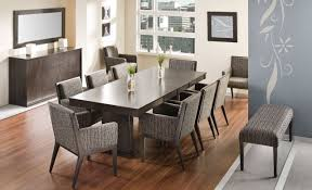 Dining Room Reclaimed Wood Table Black Stained Lamp Enchanting Large Area Rug Orange Paint Wall