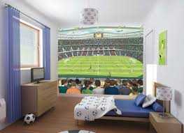 Bedroom Interior Teens Kids Football Stadium Poster And Tv On Wooden Cabinet In Soccer