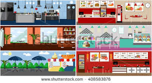 Vector Banner With Restaurant Interiors Kitchen Dining Room Street Cafe And Fast Food