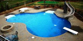 Free Form Vinyl Liner Pool With Diving Board Slide Fire Pit