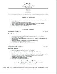 Medical Lab Tech Resume Cover Letter Laboratory Technologist New Dialysis
