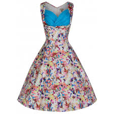Ophelia Floral Kaleidoscope Print Vintage 50s Inspired Swing Dress