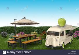 100 Green Food Truck Truck Is Stopping In A Garden With A Green Apple On