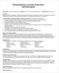 Housekeeper Laundry Supervisor Job Description