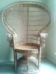 Wicker Chair Vintage Beautiful Peacock Fan Back Patio