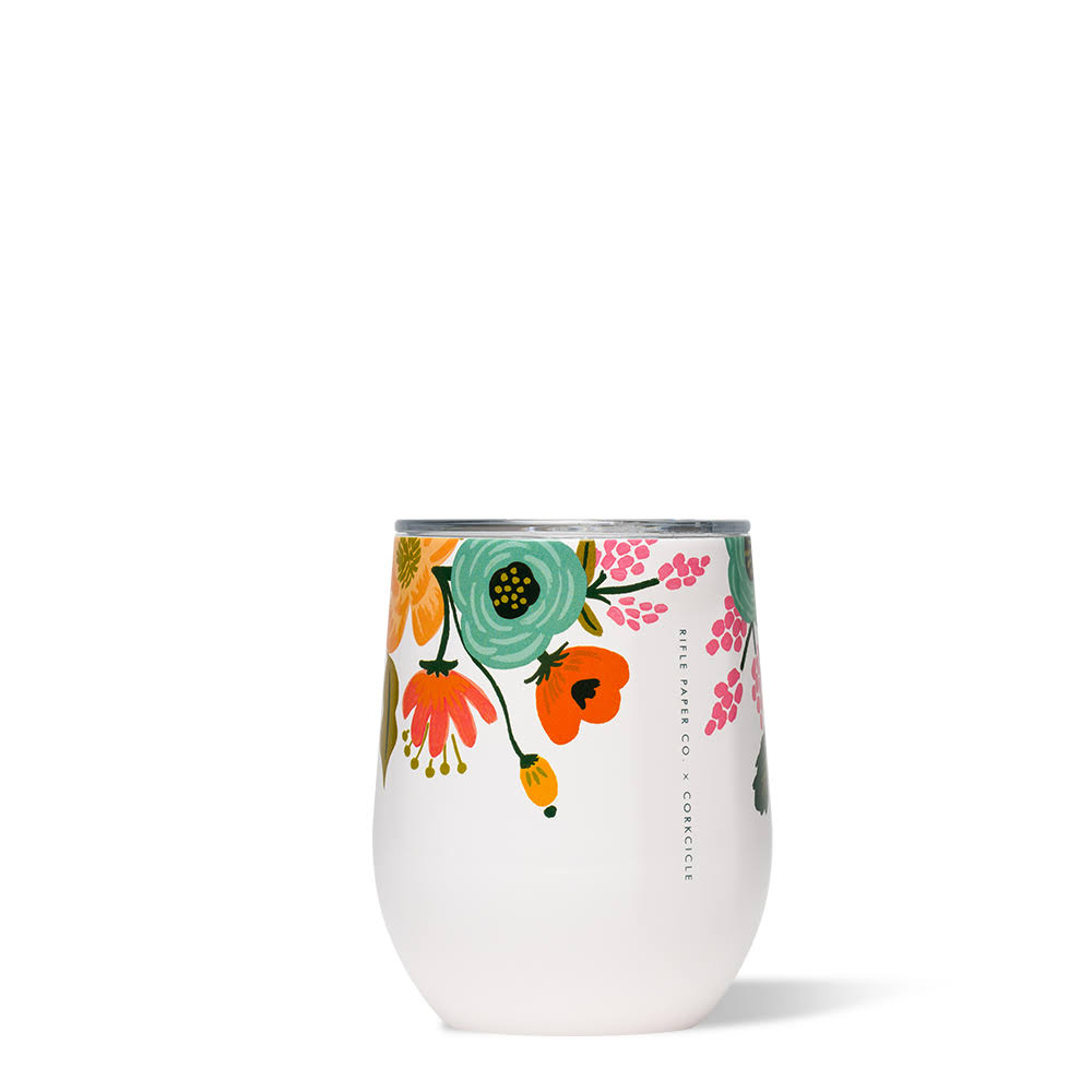 Rifle Paper Co. Stemless 12oz Wine Cup / Lively Floral Cream