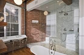 new york brick tile bathroom industrial with hardwood flooring
