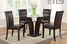 Iris Dark Brown Round Glass Top Pedestal 5 Piece Dining Table Set