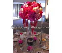 Elegant Tall Modern Wedding Centerpiece In Santa Monica CA Edelweiss Flower Boutique