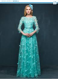 teal flower illusion tulle long sleeve lace special occasion dress