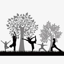 Morning Woods Yoga Tree Silhouette Figures Free PNG And Vector