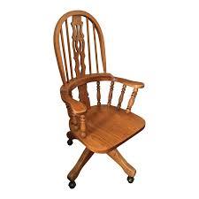 High Back Swivel Oak Office Chair   Chairish