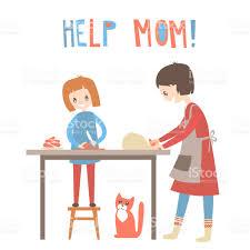aide de cuisine mère et fille de cuisine ensemble aide à domicile éducation vector