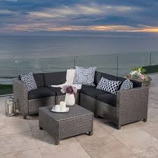 puerta outdoor 6 piece wicker v shaped sectional sofa set by