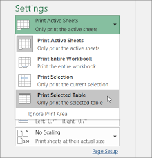 Print An Excel Table