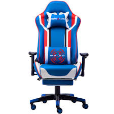 Nokaxus Gaming Chair Large Size High-Back Ergonomic Racing Seat With  Massager Lumbar Support And Retractible Footrest PU Leather 90-180 Degree  ...