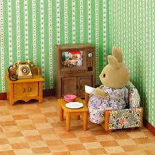 New Arrival Sylvanian Family Rabbit Sister Honey Room Bathroom Dining Set Living Sets Doll