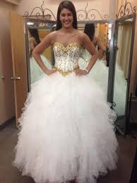 long puffy quinceanera dresses 2016 white and gold sweetheart ball