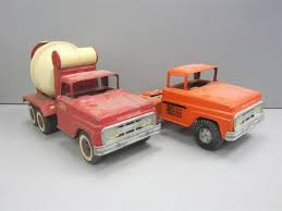 Lot 2 Vintage Pressed Steel Tonka Trucks Cement, Tow Truck Red ...