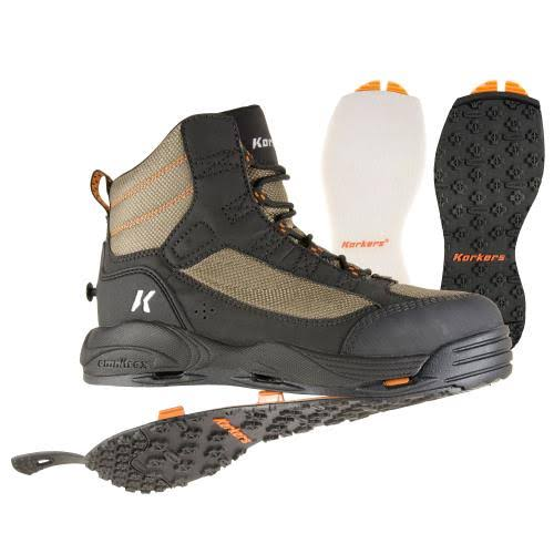 Korkers Greenback Wading Boot - Dried Herb/Black, Size 13, with Felt & Kling-On Soles