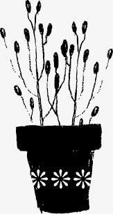 pot de fleurs noir noir horticulture dessins animés image png