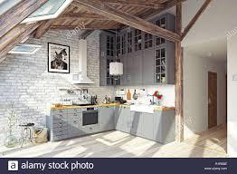 Modern White Kitchen Interior 3d Rendering Stockfoto Und Modern Attic Kitchen Interior 3d Rendering Design Concept