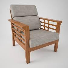 Wooden Sofa With Cushion 3d Model Max Fbx C4d 1