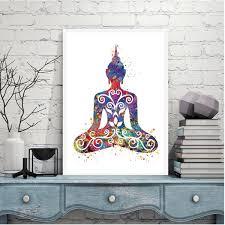 Ohm Symbol Sitting Buddha Lotus Flower Prints Vintage Style Etsy