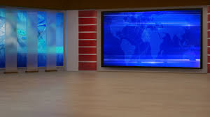 News TV Studio Set 195 Virtual Green Screen Background Loop Stock Video Footage