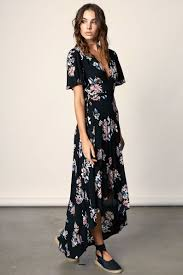memdalet women u0027s black print flutter sleeve wrap maxi dress
