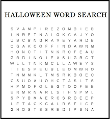 Halloween Word Search Printable Coloring Pages Template