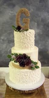 White Rustic Wedding Cake Non Smooth Purple Gumpaste Roses Burlap Base Ribbon
