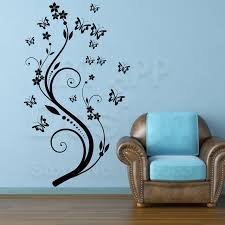 Art Beautiful Design Home Decoration Vinyl Butterfly Flower Wall Sticker Removable Pvc House Decor Decals In