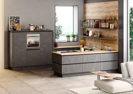 schlichte u küche mit grifflosen fronten in stahl dunkel nachbildung möbelhaus pohl wilhelmshaven friesland
