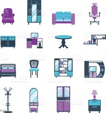 möbelsymbole wohndesign moderne wohnzimmer eingerichtet wohnung symbole vektorillustration stock vektor und mehr bilder architektur