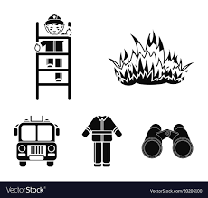 Flame Fireman On The Stairs Uniform Fire Truck Vector Image