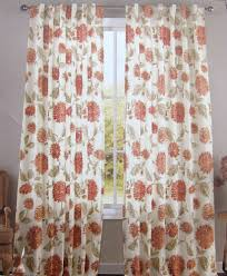 envogue red ivory gold floral window curtain panels set of 2