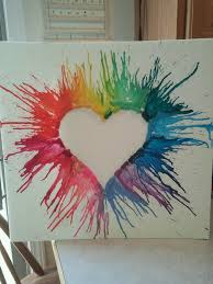 Heart Crayon Art Use Black Canvas And