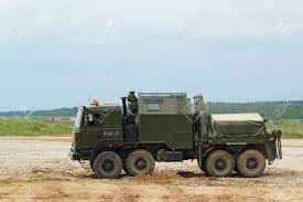 100 Russian Military Trucks In The Field Training Ground